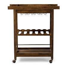 baxton studio hannah brown finish rubberwood serving bar cart with