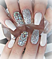white and silver coffin nails nails u0026 beauty pinterest