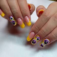 french nails with yellow tips and purple flowers one1lady com