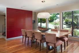 contemporary dining room design with crystal chandelier and