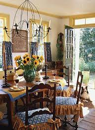 Country Style Dining Room French Country Style Dining Room With Green Plaid Wallpaper