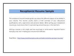 Sample Of Receptionist Resume by Receptionist Resume Sample Pdf