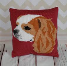 Knitted Cushions With Buttons Blenheim Cavalier King Charles Spaniel Cushion Cover Knitting