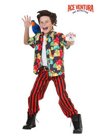 Kids Skeleton Halloween Costumes Child Ace Ventura Costume With Wig