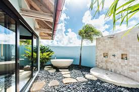 amazing outdoor bathroom ideas with round shape white bathtub and