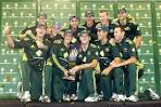 The Australian cricket team with their trophy - ABC News.