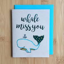 Handmade Farewell Invitation Cards Whale Miss You Goodbye Card Handmade Farewell Miss You Card