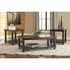 ashley furniture mallacar 3pc occasional table set in black