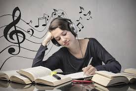 student listens to music
