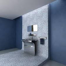 gray and blue bathroom decor dark brown varnished wall mounted