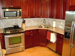 Kitchen Color Ideas With Cherry Cabinets Brown Varnished Wood Kitchen Island Kitchens With Cherry Cabinets