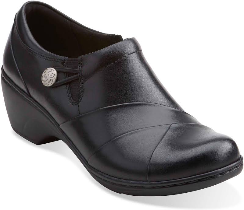 CLARKS Channing Ann Leather Closed Toe Clogs, Black Leather,