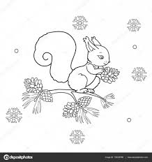 coloring page outline of cartoon squirrel with cone winter