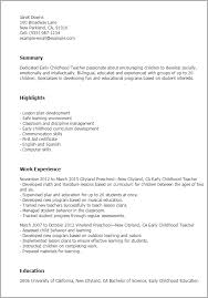 Examples Of Professional Summary For Resume by Professional Early Childhood Teacher Templates To Showcase Your
