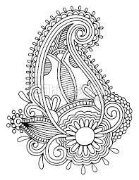 Indian Flower Design Black Line Art Ornate Flower Design Ukrainian Ethnic Style Aut