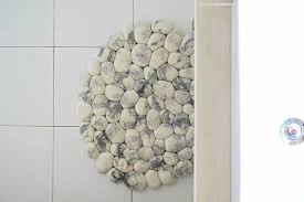 Pebble Area Rug White Area Felt Stones Bath Rug Round Carpet Scandinavian