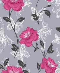 Shabby Chic Pink Wallpaper by Flower Trail Pink Black Grey Butterflies Shabby Chic