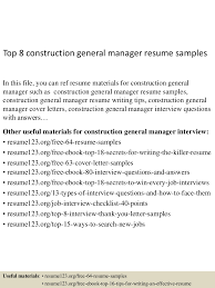Cook Resume Sample Pdf Top8constructiongeneralmanagerresumesamples 150723071758 Lva1 App6892 Thumbnail 4 Jpg Cb U003d1437635921