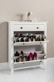 Shoe Storage Furniture by Shoe Storage Cabinet Deluxe With Storage Drawer Cotswold In White