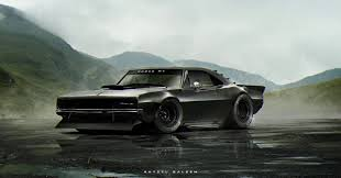 Custom Muscle Cars - 1960s mustang dodge charger and corvette c3 rendered as toxic