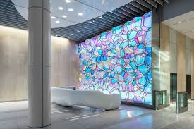 one state street lobby illuminated feature wall architectural