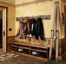 Storage Bench With Hooks by Coat Hook Rack Entry Rustic With Coat Hooks Cubby Holes Jackets