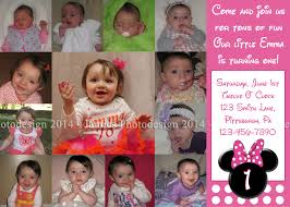 1st Year Baby Birthday Invitation Cards Minnie Mouse Birthday Invitation 1 Year Old Party Printables