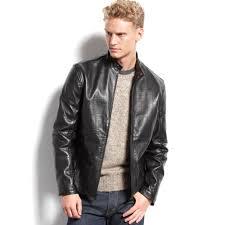 men s moto jacket calvin klein mens leather moto jacket in black for men lyst