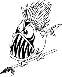 coloring pages piranha fish holding spear preschoolers