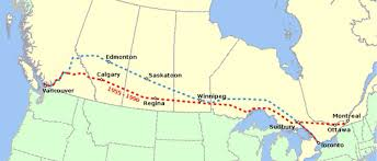 Canada Rail Map by Canadian Transcontinental Railroad By J W