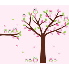 Bedroom Wall Decals Trees Pink And Green Owl Wall Decor With Tree Wall Art For Girls Rooms