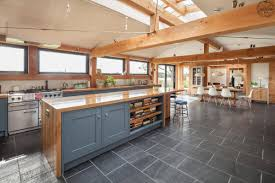 Most Efficient House Plans Contemporary Timber Frame Home Open Plan Kitchen Green Oak