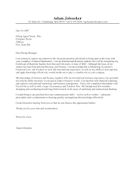 Examples Of Resume Cover Letters Generic Examples by Sample Cover Letter For Resume Banking