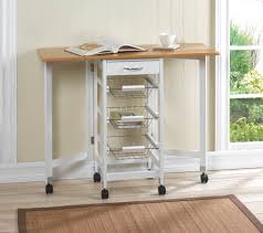 space saving folding mobile kitchen bar wire basket storage cart