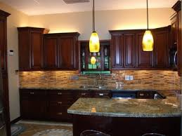 Cherry Cabinet Kitchen And Really Like Back Splash Combo With - Kitchen backsplash ideas dark cherry cabinets