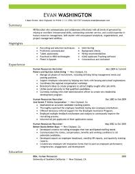 human resources resume example sample  fresher