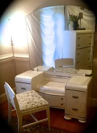 White Shabby Chic Dressing Table by Art Deco Waterfall Vanity Mirror And Chair White Annie Sloan