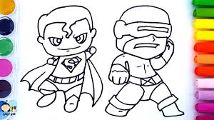 coloring pages for kids to learn colors w superman how to draw