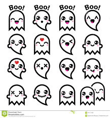 kawaii cute ghost halloween icons set vector character isolated