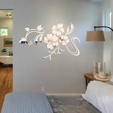 ikevan 1set acrylic art 3d mirror flower wall stickers diy home
