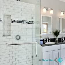 design your bathroom with carrara marble subway tiles from www