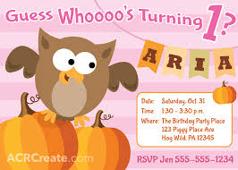 october halloween owl birthday invitation for a one year old