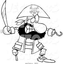 vector of a cartoon tough pirate with a sword coloring page