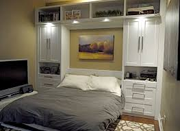 Black Bedroom Set With Armoire Elegance Modern Murphy Bed With Grey Quilt And White Tv Table Also