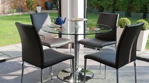Stylish  Seater Glass Dining Set Elegant Faux Leather Dining Chairs - Black dining table for 4
