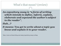 LESSON   Expository Essay  What     s that mean   review  An