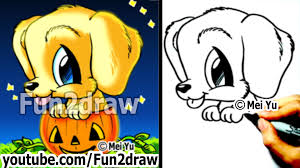 golden retriever puppy how to draw a dog for halloween in a