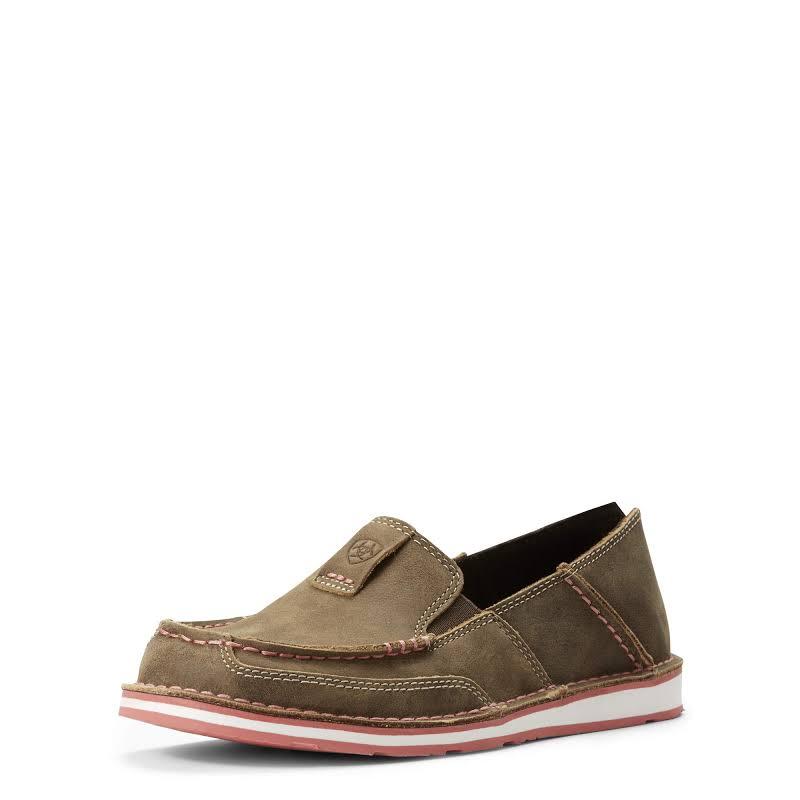 Ariat Ladies Cruiser Brown Bomber & Pink Slip-On Shoes 10027356