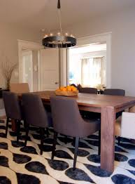 modern dining room rugs brown varnished wooden dining table