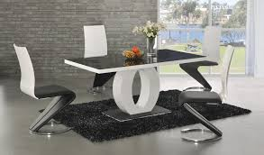 GA Angel Black Glass White Gloss  Cm Designer Dining Set   Z - Black dining table for 4